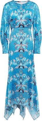 Peter Pilotto Asymmetric Printed Hammered Silk-blend Satin Midi Dress