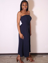 Tysa Tie Up Tube Dress In Navy