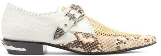 Toga Python-embossed Point-toe Leather Brogues - Womens - Grey Multi