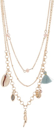 Melrose and Market Layered Shell, Parrot, & Tassel Charm Necklace