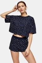Topshop Navy Printed Ditsy Boxy Pyjama Set