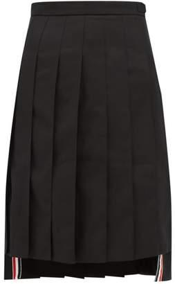 Thom Browne Stepped-hem Pleated Wool-twill Skirt - Womens - Black