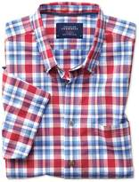 Charles Tyrwhitt Slim Fit Button-Down Poplin Short Sleeve Sky Blue and Red Check Cotton Casual Shirt Single Cuff Size Medium