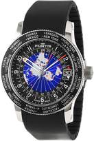 Fortis Men's 674.21.11 K B-47 WORLDTIMER GMT black silicone band watch.