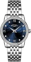 Rotary Blue Crystal Set Dial Stainless Steel Bracelet Watch and Crystal Circle Necklace Ladies Watch