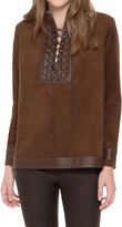 Max Studio Microsuede Lace Front Top