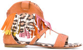 Roberto Cavalli leopard fringed sandals - kids - Leather/Suede/Pig Leather/rubber - 38