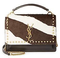 Saint Laurent Women's Sunset Studded Zebra-Stripe Calf Hair & Leather Top Handle Bag