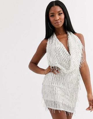 Goddiva embellished deep cowl neck mini dress in cream