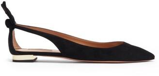 Aquazzura Bow Tie Suede Ballet Flats - Black