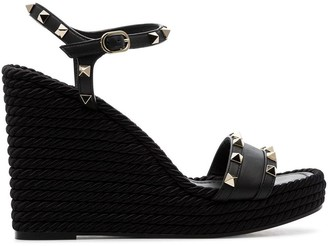 Valentino Rockstud 120mm espadrille wedge sandals