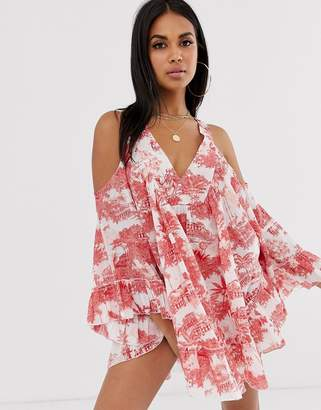 Asos Design DESIGN cold shoulder Chinoiserie print beach dress with stud detail-Multi