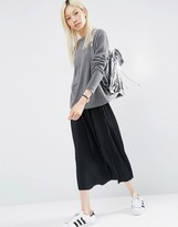 Asos Pleated Midi Skirt in Jersey