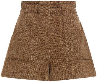 BA&SH Peter Herringbone Wool-blend Tweed Shorts