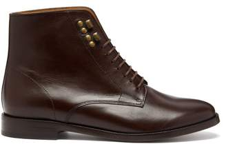 A.P.C. Frances Leather Derby Boots - Womens - Dark Brown