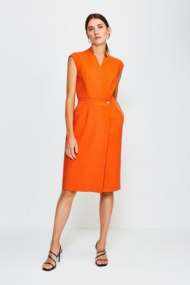 Karen Millen Collar Wrap Sleeveless Midi Dress