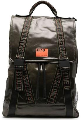 Diesel Logo Trim Coated Canvas Backpack
