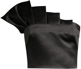 Flor Et. Al Collins Satin Pleated Cropped Top