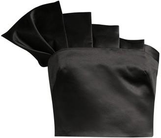 Flor Et. Al Collins Satin Pleated Cropped Top