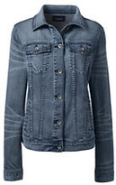 Lands' End Women's Petite Long Sleeve Denim Jacket-Dark Indigo Wash