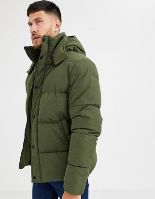 ASOS DESIGN sustainable puffer jacket with hood in khaki