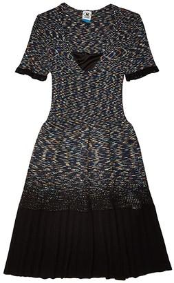 M Missoni Short Sleeve Space Dye Short Dress (Navy) Women's Clothing