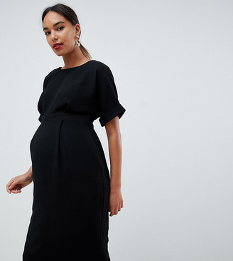 ASOS DESIGN Maternity wiggle midi dress in black