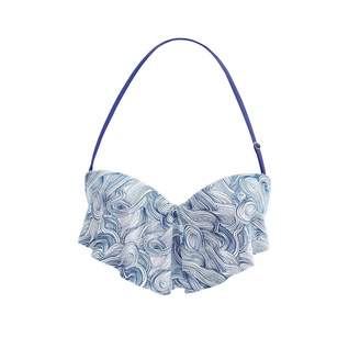 Seareinas Wave Overlay Bikini Top With Underwire Light Padding & Adjustable Neck Back Straps In Blue Wind Print