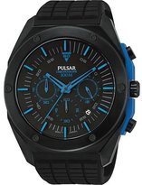 Pulsar PT3465 45mm Ion Plated Stainless Steel Case Black Silicone Mineral Men's Watch