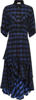 Temperley London Stirling Asymmetric Checked Jacquard Dress