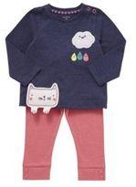 F&F Appliqu Cat Top and Ribbed Leggings Set, Newborn Girl's