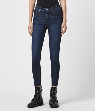 AllSaints Roxanne Cropped High-Rise Skinny Jeans, Dark Indigo