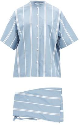 Jil Sander Mandarin-collar Striped Cotton-poplin Pyjamas - Blue Multi