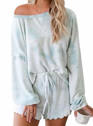 Actloe Women Crew Neck Long Sleeve Tie Dye Pajama Sets Sleepwear Front Drawstring Nightwear Sky Blue Medium