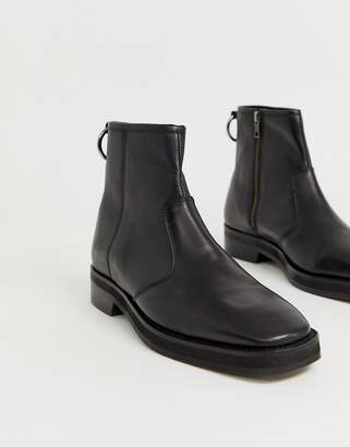 Asos Design DESIGN chelsea boots in black leather with square toe and chunky sole