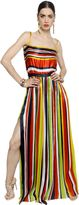 DSQUARED2 Striped Silk Satin Dress