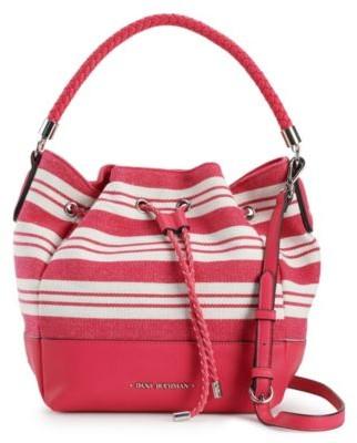 Dana Buchman Striped Drawstring Bucket Bag