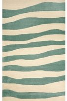 Liora Manné Aqua and Ivory Wide Stripe UV Stabilized Outdoor Rug (42' x 66')