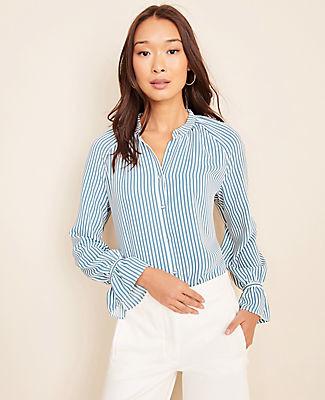 Ann Taylor Petite Stripe Shirred Button Down Top