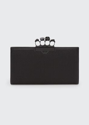 Alexander McQueen Four-Ring Skull Flat Clutch Bag