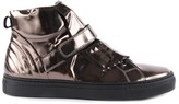 Gallucci Metallic Leather Zip-Up Trainers with Fringe