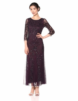 Pisarro Nights Women's Long Beaded Dress with Boat Neck and Godet Skirt