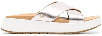 UGG Metallic Leather Cross-Over Strap Sandals