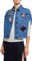 Valentino Butterfly-Embroidered Sleeveless Denim Jacket