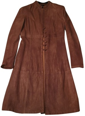 Emporio Armani Brown Leather Trench Coat for Women