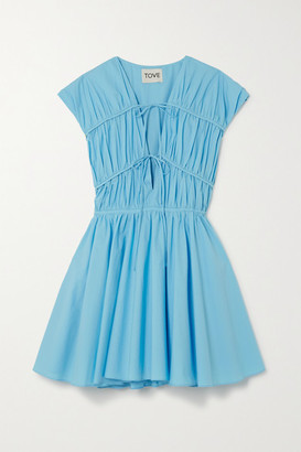 TOVE Ceres Pleated Cotton-poplin Mini Dress - Blue