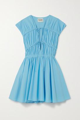 TOVE Ceres Pleated Cotton-poplin Mini Dress - Blue
