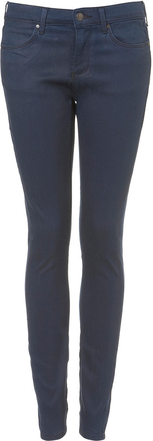Topshop MOTO Blue Coated Leigh Jeans
