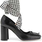 Miu Miu Lace-up Leather Pumps - Black
