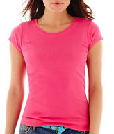 JCPenney STYLUS Stylus Short-Sleeve Ribbed Solid Crewneck T-Shirt
